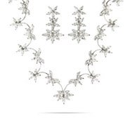 Dazzling Flowering Vines of CZ necklace and Earrings Set
