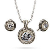 Designer Inspired Round Clear CZ Necklace and Earring Set
