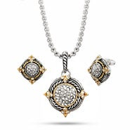 Designer Inspired Round Pave CZ Cable Necklace and Earrings Set