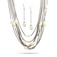Designer Inspired Multi Strand Pearl Necklace and Earrings Set