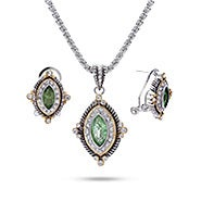 Victorian Style Peridot CZ Necklace and Earring Set