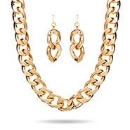 Gold Curb Chain Link Collar Set