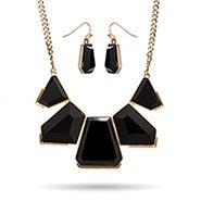 Black Geometric Collar Necklace and Earring Set