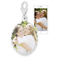 Oval Color Photo Sterling Silver Charm