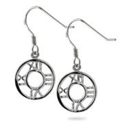 Designer Style Roman Numeral Sterling Silver Round Dangle Earrings
