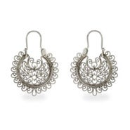 Sterling Silver Round Filigree Design Earrings