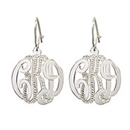 Sterling Silver Diamond Cut Monogram Earrings