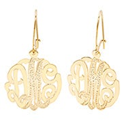 Gold Diamond Cut Monogram Earrings