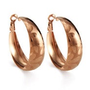 "Rose Gold 1.25"" Floral Pattern Hoop Earrings"