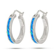 "Sterling Silver Opal .75"" Hoop Earrings"
