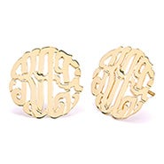 Gold Custom Monogram Stud Earrings