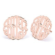 Rose Gold Custom Monogram Stud Earrings