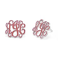 Enamel Script Monogram Earrings in Silver