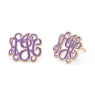 Enamel Script Monogram Earrings in Gold