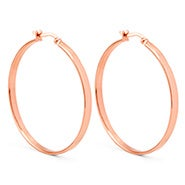 "1.5"" Flat Rose Gold Hoop Earrings"
