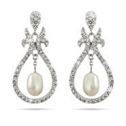 Beautiful Vintage Design Dangling Pearl CZ Earrings