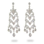 CZ Flower Drop Sterling Silver Chandeliers