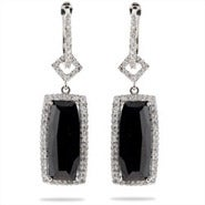 Designer Style Black Onyx CZ Rectangle Drop Earrings