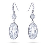 Dangling Oval CZ Earrings