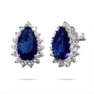Royalty Inspired Sapphire Pear Cut CZ Studs
