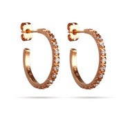 "Beautiful Rose Gold CZ 3/4"" Hoop Earrings"