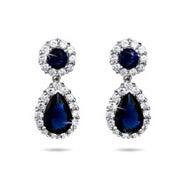Sparkling Sapphire CZ Peardrop Silver Earrings