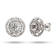 Vintage Flower Design CZ Stud Earrings