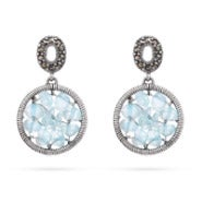 Genuine Aquamarine Beaded Round Earrings