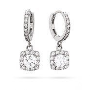 Square Halo Brilliant Cut CZ Sterling Silver Leverback Earrings