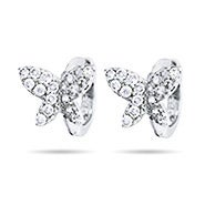 Petite Butterfly CZ Huggie Sterling Silver Earrings