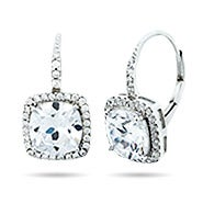 Halo Cushion Cut CZ Sterling Silver Leverback Earrings