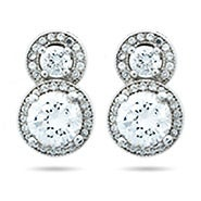 Halo Circle Stud Brilliant Cut CZ Sterling Silver Earrings