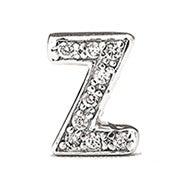 Sterling Silver CZ Initial Stud Earring - Z