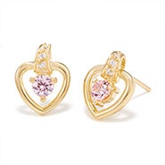 Heart Birthstone Gold Stud Earrings
