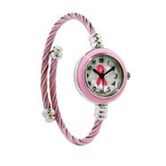 Breast Cancer Watch with Twisted Cable Band