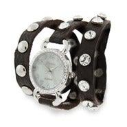 Brown Leather CZ Studded Wraparound Watch