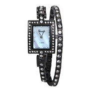 Sparkling Gunmetal and CZs Wrap Watch