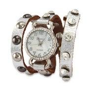 Silver Leather with CZ Studs Wrap Watch
