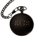 Black Stainless Steel Engravable Pocket Watch