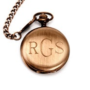 Brushed Bronze Metal Engravable Pocket Watch