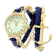 Navy and Gold CZ Braided Anchor Wrap Watch