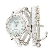 White and Silver Braided Anchor Wrap Watch