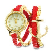 Red and Gold Braided Anchor Wrap Watch