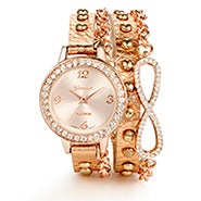 Infinity CZ Rose Gold Leather Wrap Watch