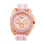Rose Gold and Pink Rubber Strap Watch