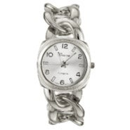 Silver Tone Curb Link Watch