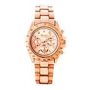 Rose Gold Brushed Metal Fashion Watch