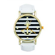 Striped Anchor Watch with White Leather Band