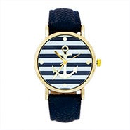 Striped Anchor Watch with Navy Leather Band
