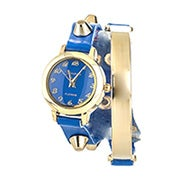 Engravable Studded Blue and Gold Wrap Watch
